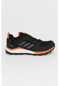 Czarne buty trekkingowe adidas Performance z cholewką, Adidas Terrex, z okrągłym noskiem