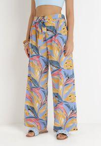 Born2be - Niebieskie Spodnie Szerokie Kado. Stan: podwyższony. Kolor: niebieski. Materiał: tkanina, materiał. Długość: długie. Wzór: kolorowy