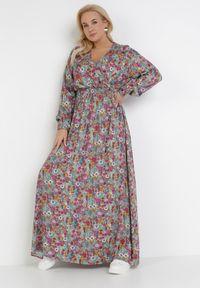 Born2be - Miętowo-Fioletowa Sukienka Kelatai. Kolor: miętowy. Długość rękawa: długi rękaw. Wzór: kwiaty. Typ sukienki: kopertowe, rozkloszowane. Długość: maxi