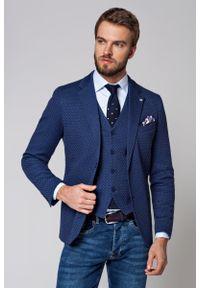 Niebieska marynarka Lancerto biznesowa, w geometryczne wzory, na spotkanie biznesowe