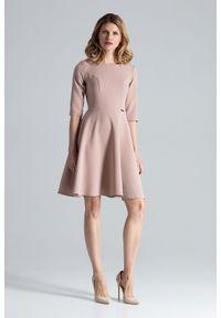 Figl - Różowa Rozkloszowana Sukienka przed Kolano. Kolor: różowy. Materiał: poliester, wiskoza, elastan