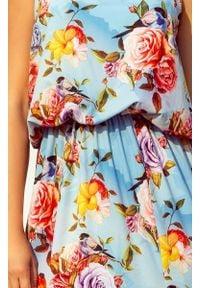 Numoco - Długa zwiewna SUKIENKA MAXI w kwiaty z rozcięciem. Okazja: na imprezę. Materiał: materiał. Wzór: kwiaty. Sezon: lato. Długość: maxi