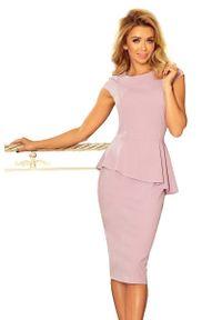 Numoco - Elegancka Ołówkowa Sukienka Midi z Asymetryczną Baskinką - Różowa. Kolor: różowy. Materiał: poliester, elastan. Typ sukienki: baskinki, ołówkowe, asymetryczne. Styl: elegancki. Długość: midi