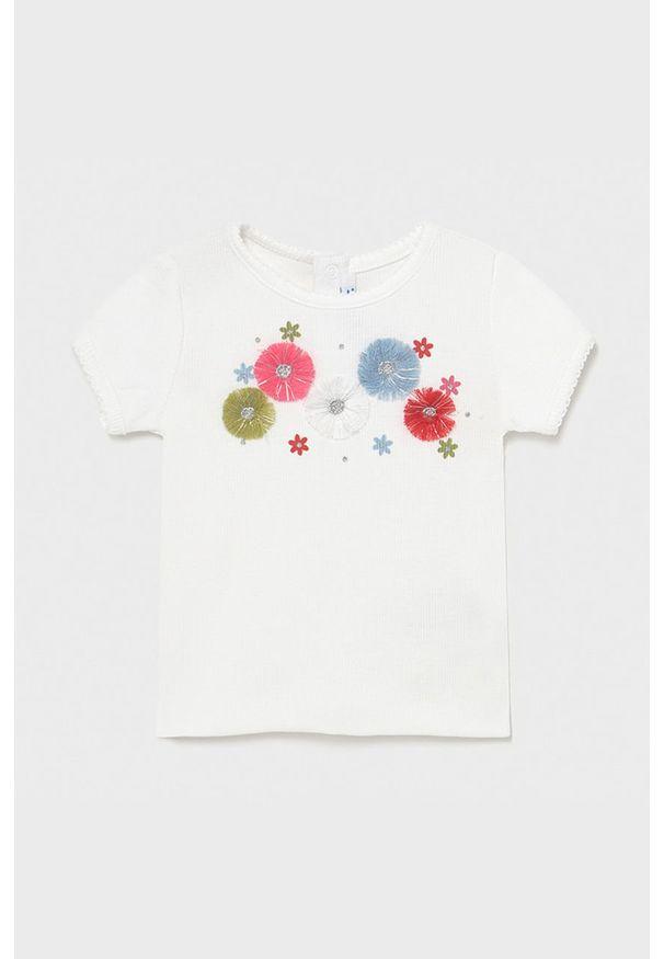 Mayoral - T-shirt dziecięcy. Okazja: na co dzień. Kolor: biały. Materiał: elastan, dzianina, poliester, bawełna. Długość rękawa: krótki rękaw. Długość: krótkie. Wzór: aplikacja. Styl: casual