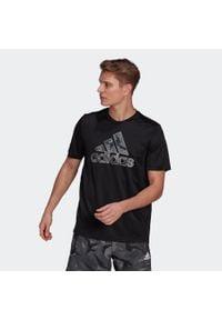 Adidas - Koszulka fitness krótki rękaw LOGO. Materiał: poliester, materiał. Długość rękawa: krótki rękaw. Długość: krótkie. Sport: fitness