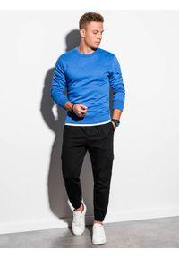 Ombre Clothing - Bluza męska bez kaptura B978 - niebieska - XXL. Okazja: na co dzień. Typ kołnierza: bez kaptura. Kolor: niebieski. Materiał: poliester, materiał, bawełna. Styl: klasyczny, casual