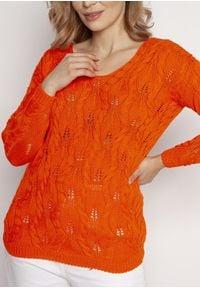 MKM - Kobiecy Ażurowy Sweter - Pomarańczowy. Kolor: pomarańczowy. Materiał: bawełna, akryl. Wzór: ażurowy