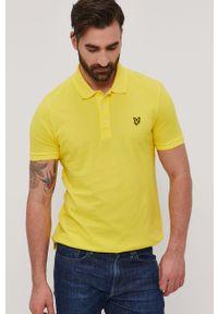 Żółta koszulka polo Lyle & Scott krótka, na co dzień, gładkie