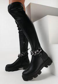 Born2be - Czarne Kozaki Kadostom. Wysokość cholewki: za kolano. Nosek buta: okrągły. Zapięcie: zamek. Kolor: czarny. Materiał: polar. Szerokość cholewki: normalna. Obcas: na obcasie. Wysokość obcasa: średni