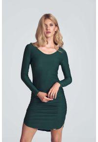 Figl - Casualowa Sukienka o Dopasowanym Kroju - Zielona. Okazja: na co dzień. Kolor: zielony. Materiał: wiskoza, poliester, elastan. Styl: casual