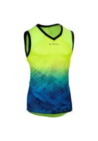 OFFLOAD - Koszulka na ramiączka do rugby R500 MĘSKA. Kolor: turkusowy, niebieski, żółty, wielokolorowy. Materiał: poliester, materiał. Długość rękawa: na ramiączkach. Sport: fitness