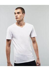 Lacoste - LACOSTE - Biały t-shirt bawełniany 3-pack. Typ kołnierza: dekolt w serek. Kolor: biały. Materiał: bawełna. Wzór: haft