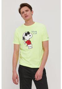 Żółty t-shirt Mc2 Saint Barth casualowy, z nadrukiem, na co dzień