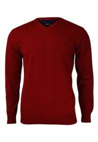 Czerwony sweter MM Classic klasyczny, na spotkanie biznesowe