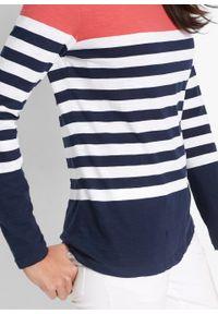Shirt z długim rękawem, z bawełny bonprix koralowo-biało-ciemnoniebieski w paski. Kolor: czerwony. Materiał: bawełna. Długość rękawa: długi rękaw. Długość: długie. Wzór: paski
