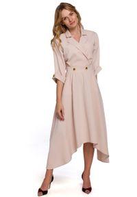 MOE - Asymetryczna Rozkloszowana Sukienka z Kopertowym Dekoltem - Beżowa. Kolor: beżowy. Materiał: poliester, elastan. Typ sukienki: asymetryczne, kopertowe