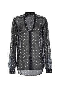 Pinko - PINKO - Koszula w groszki Marron. Kolor: czarny. Materiał: koronka, jeans. Długość rękawa: długi rękaw. Długość: długie. Wzór: grochy. Styl: elegancki