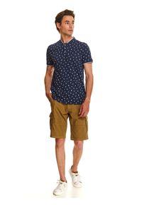 Niebieski t-shirt TOP SECRET elegancki, na lato, z krótkim rękawem, krótki