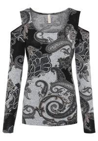 Czarna bluzka bonprix z długim rękawem, paisley, długa