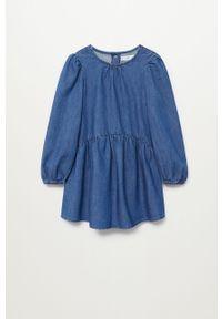 Niebieska sukienka Mango Kids z długim rękawem, mini, rozkloszowana