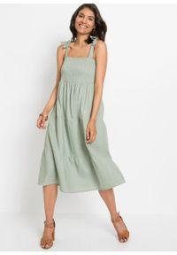 Sukienka midi lniana bonprix dymny zielony. Kolor: zielony. Materiał: len. Długość rękawa: na ramiączkach. Długość: midi