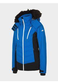 4f - Kurtka narciarska damska. Kolor: niebieski. Materiał: nylon, poliester. Technologia: Dermizax. Sezon: zima. Sport: narciarstwo