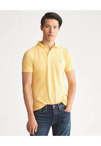 Ralph Lauren - RALPH LAUREN - Koszulka polo Slim Fit. Typ kołnierza: polo. Kolor: żółty. Materiał: bawełna, materiał, prążkowany. Wzór: haft