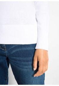 Biały sweter bonprix z dekoltem w serek, na co dzień, w prążki