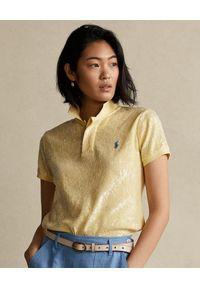 Ralph Lauren - RALPH LAUREN - Cekinowa koszulka polo. Okazja: na co dzień. Typ kołnierza: polo. Kolor: żółty. Materiał: bawełna. Styl: casual, klasyczny