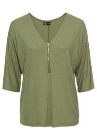 Zielona bluzka bonprix z dekoltem w serek