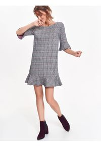 Szara sukienka TOP SECRET w kratkę, do pracy, z falbankami, z krótkim rękawem