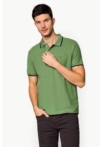 Zielona koszulka polo Lancerto w kolorowe wzory, polo, klasyczna, z krótkim rękawem