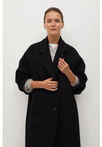 Czarny płaszcz mango bez kaptura, klasyczny