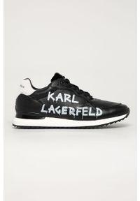 Czarne sneakersy Karl Lagerfeld z okrągłym noskiem, z cholewką, na sznurówki