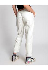ONETEASPOON - Białe skórzane spodnie Shabbies. Kolor: biały. Materiał: skóra. Wzór: aplikacja