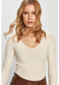 Kremowa bluzka z długim rękawem Silvian Heach na co dzień, klasyczna, gładkie