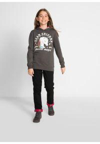 Bluza dziewczęca z kapturem i cekinami bonprix antracytowy melanż z nadrukiem. Typ kołnierza: kaptur. Kolor: szary. Wzór: melanż, nadruk