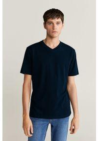Niebieski t-shirt Mango Man na co dzień, casualowy
