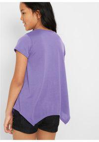Fioletowa bluzka bonprix z nadrukiem, długa