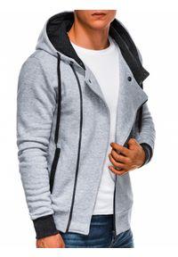 Ombre Clothing - Bluza męska rozpinana z kapturem B297 - szara - XXL. Typ kołnierza: kaptur. Kolor: szary. Materiał: bawełna, dzianina, poliester