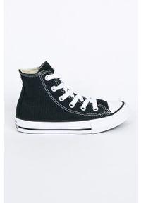 Czarne trampki Converse na sznurówki, z cholewką, z okrągłym noskiem