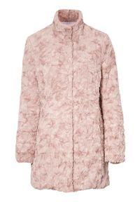 Różowe futro Cellbes ze stójką, długie, eleganckie