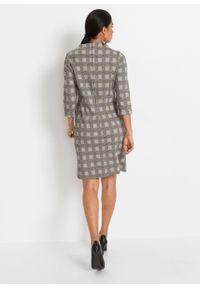 Sukienka z dżerseju bonprix szaro-wielbłądzia wełna w kratę. Kolor: szary. Materiał: wełna, jersey