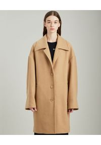 PALM ANGELS - Beżowy płaszcz oversize z logo. Kolor: beżowy. Materiał: wełna. Długość: długie