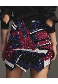 RETROFETE - Asymetryczna spódnica z cekinami Naomi. Kolor: niebieski. Typ sukienki: asymetryczne. Długość: mini