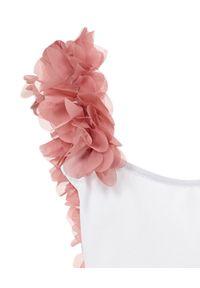 LA REVECHE KIDS - Biały strój kąpielowy z ozdobą. Kolor: biały. Materiał: tkanina, szyfon, poliamid, elastan. Wzór: aplikacja #6