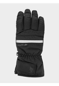 4f - Rękawice narciarskie męskie. Kolor: czarny. Materiał: skóra, syntetyk, materiał. Technologia: Thinsulate. Sezon: zima. Sport: narciarstwo