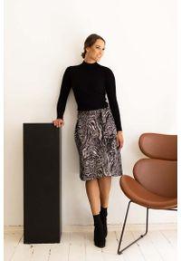 Nommo - Trapezowa Spódnica z Paskiem - Granitowa. Materiał: wiskoza, poliamid, poliester
