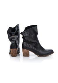 Czarne botki Zapato z cholewką za kostkę, na wiosnę, casualowe