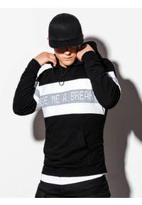 Ombre Clothing - Bluza męska z kapturem B1066 - czarna - XL. Typ kołnierza: kaptur. Kolor: czarny. Materiał: bawełna, poliester. Wzór: nadruk